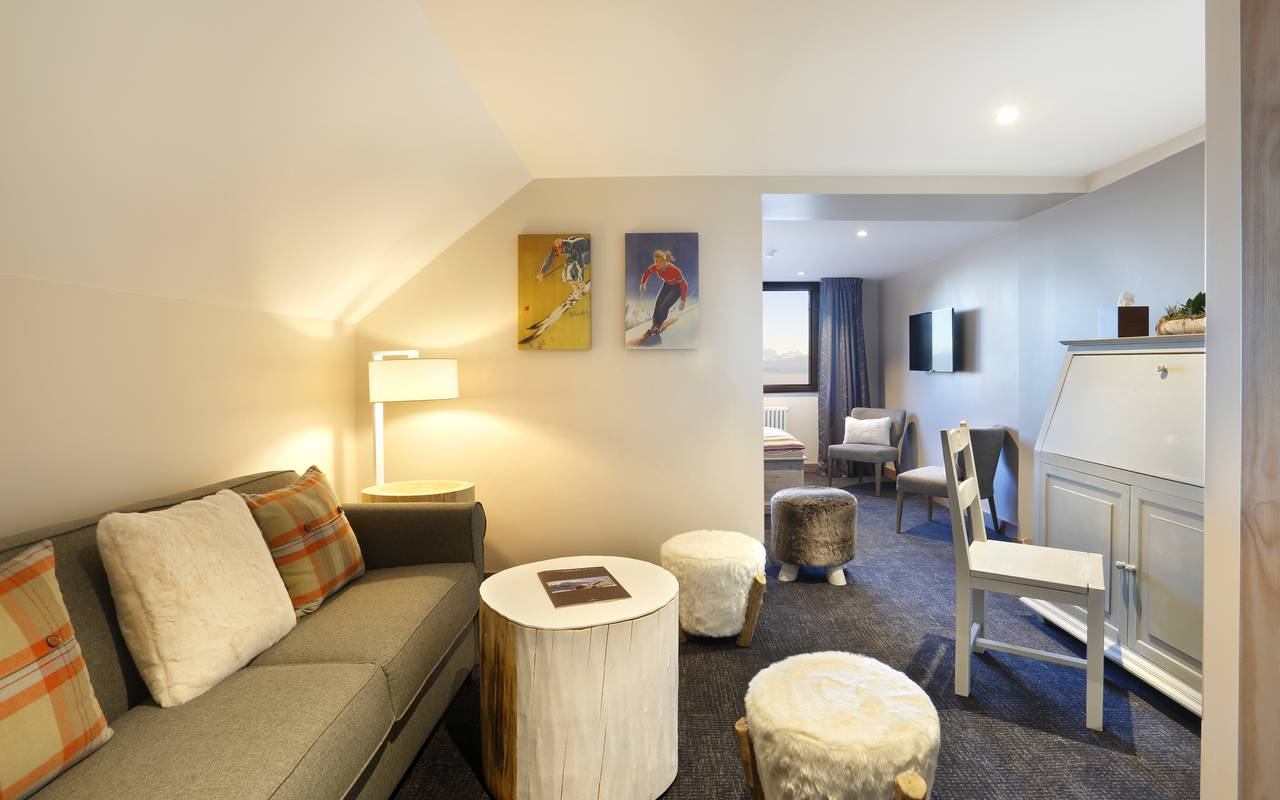 Lounge area with sofa, luxury hotel jura, La Mainaz.
