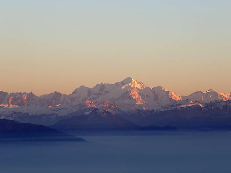 Vue sur le Mont Blanc, restaurant Ferney voltaire, hotel La mainaz