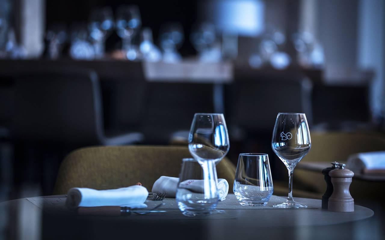 Table du restaurant, hôtel mijoux, La Mainaz