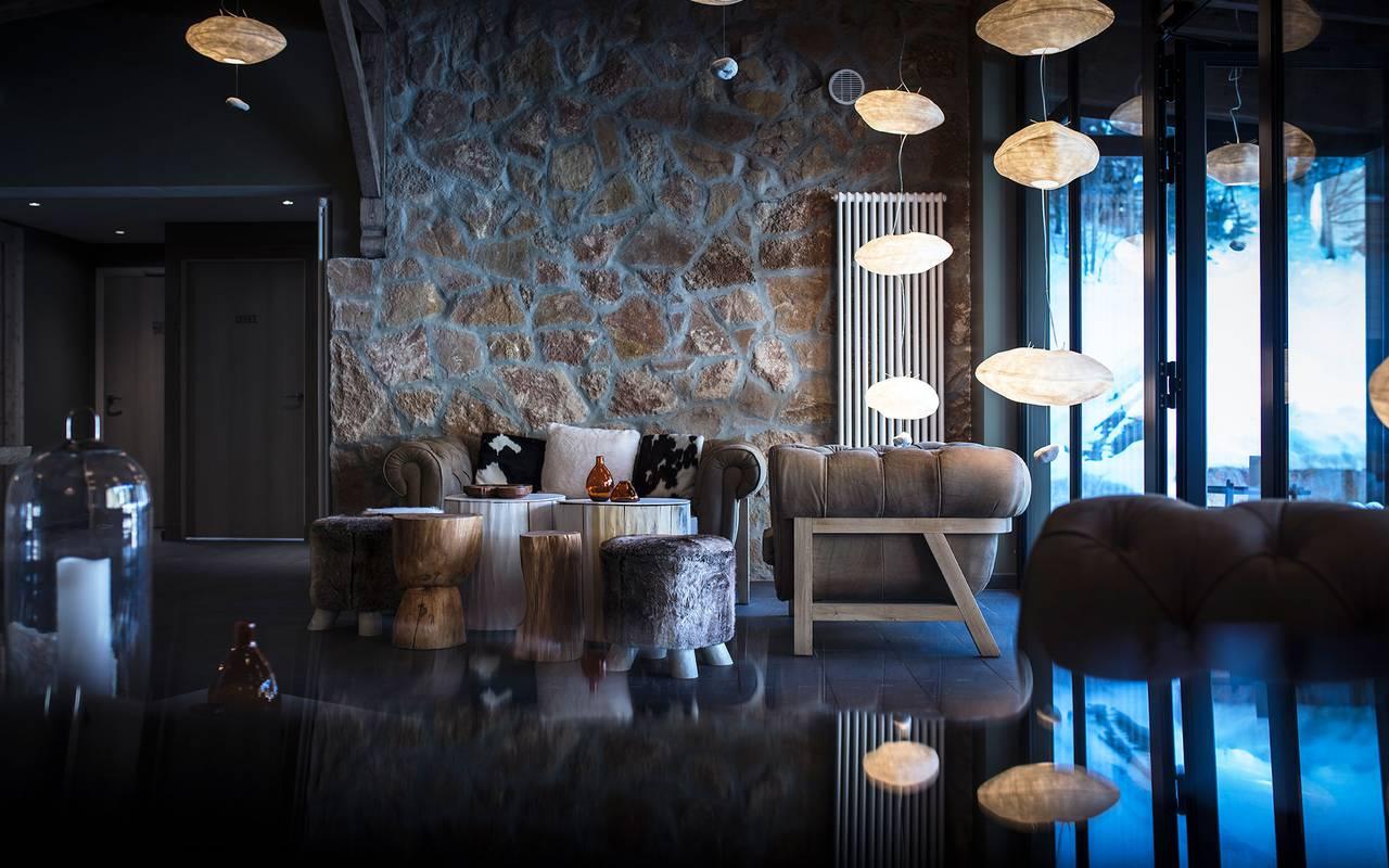 Salon luxueux, hôtel mijoux, La Mainaz