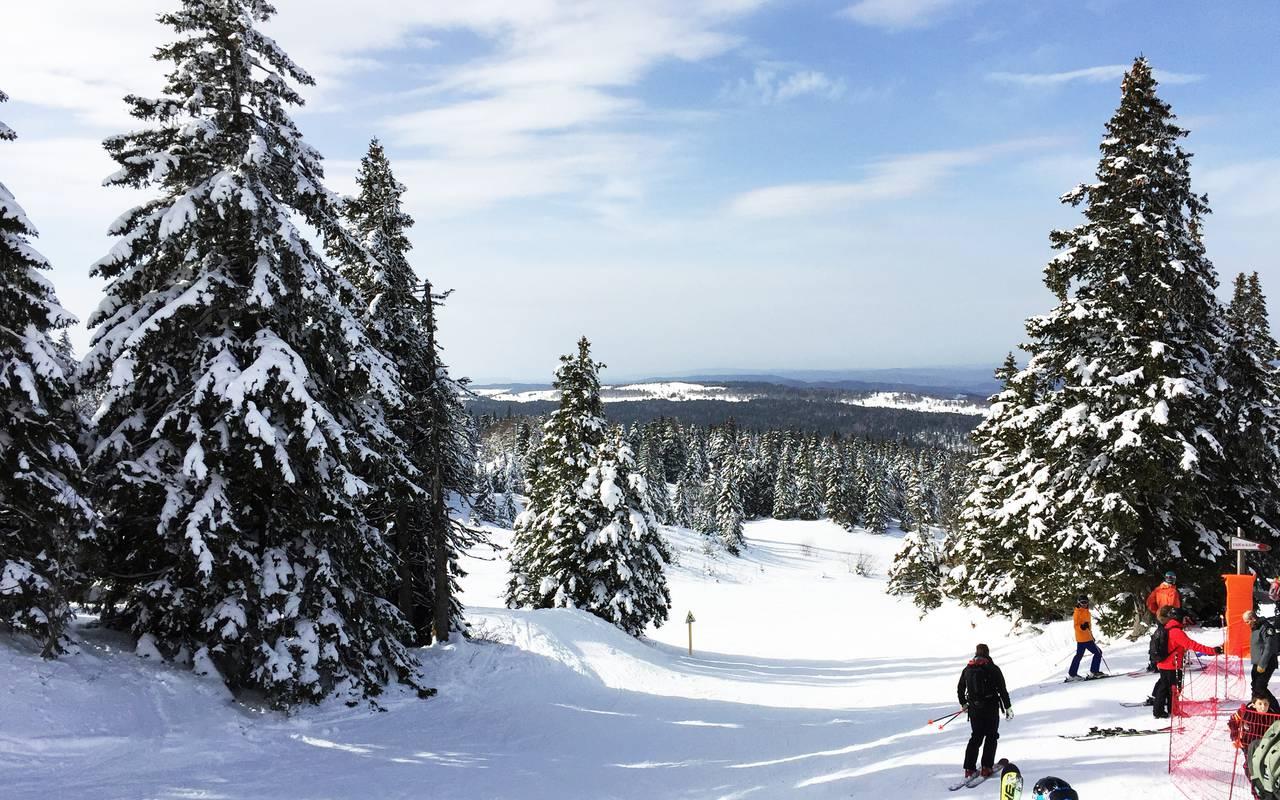 Piste de ski avec sapins, hôtel Mijoux, La Mainaz